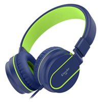 Elecder i36 Kids Headphones Children Girls Boys Teens Foldable Adjustable On Ear Headsets 3.5mm Jack Compatible iPad Cellphones Computer Kindle MP3/4 Airplane School Tablet Blue/Green